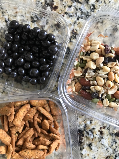Trail mix baggie (550 calories: nuts/seed mix + sesame sticks + dark chocolate espresso beans)